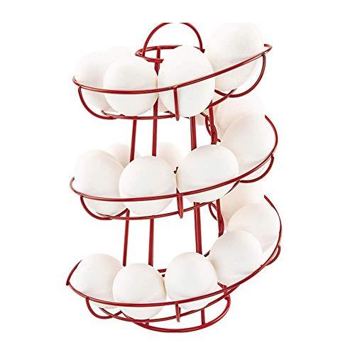 Egg Holder Stand, Kitchen Storage Spiral Egg Holder Stand Rack , Save Space Spiral Helter Skelter Egg Basket for Kitchen (Red)
