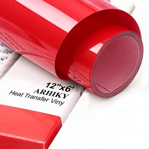 ARHIKY Iron on Heat Transfer Vinyl Roll HTV (12x6,Red)