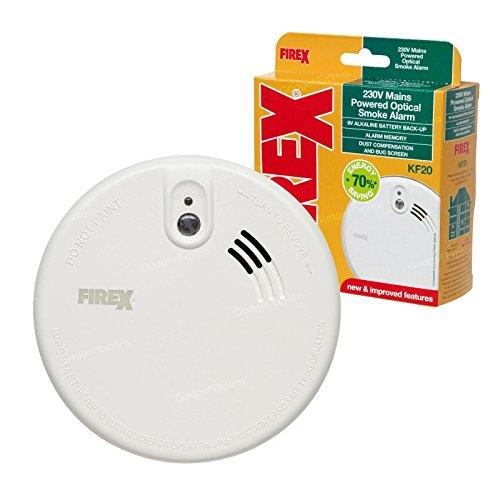 Alarma Optica anti humo de alimentación de red New Kidde FireX KF20 con respaldo de batería de 9V.