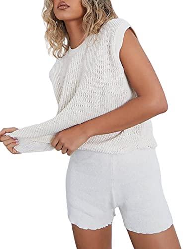 DeuYeng - Set da donna in maglia a maniche lunghe, con scollo rotondo e elastico in vita, bianco, M