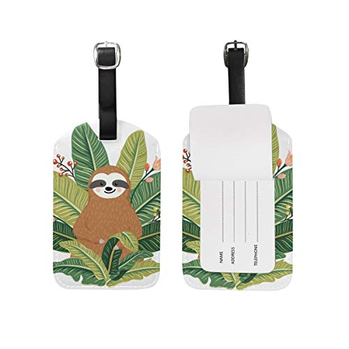 shenguang ALAZA Pug Dog Summer Beach Luggage Tag PU Leather Bag Suitcases Baggage Label 1 Piece