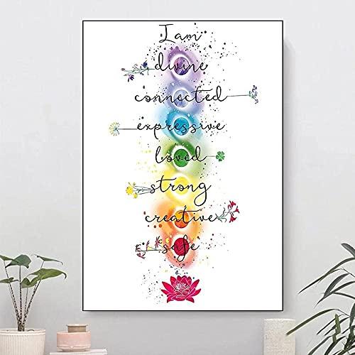 YANHUA Cuadro sobre lienzo con siete chakras y cristales curativos correspondientes, póster...