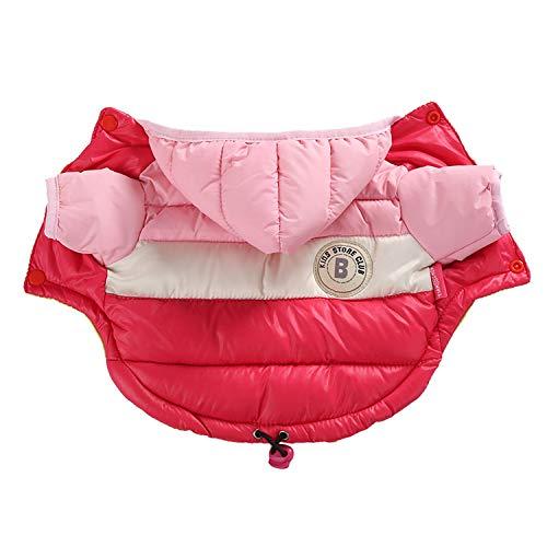 BSbattle Chaqueta impermeable para perro grande para otoño e invierno cálida ropa para perros pequeños y grandes con capucha, abrigos franceses, ropa para mascotas-rosa-10