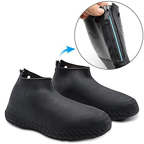 Hydream Silicone Shoe Cover Waterproof, Reusable Boot Shoes Covers with Zipper,Non Slip Rain Snow Bowling Travel Indoor Outdoor Overshoe Rubber Protectors for Men Women Kids