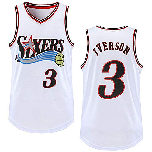 Anoauit Camisetas de Baloncesto para Hombre - 76ers # 3 Iverson Retro Bordado Basketball Swingman Edition Mesh Jersey Chaleco Deportivo Top Camiseta de Baloncesto sin Mangas-Blanco_Metro