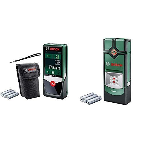 Bosch Laser-Entfernungsmesser PLR 50 C (Messbereich: 0,05 – 50 m) & Ortungsgerät Truvo (3 x AAA Batterien, Erfassungstiefe Stahl/Kupfer/stromführende Leitungen max. 70/60/50 mm, in Tinbox)