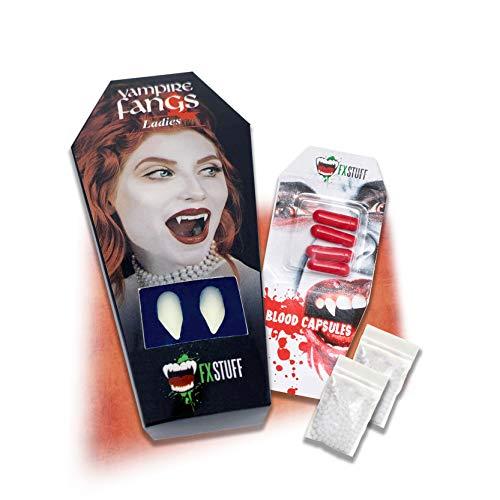 FXSTUFF Frauen Vampirzähne + Kunstblut Kapseln + Abformmasse (wiederverwendbar)