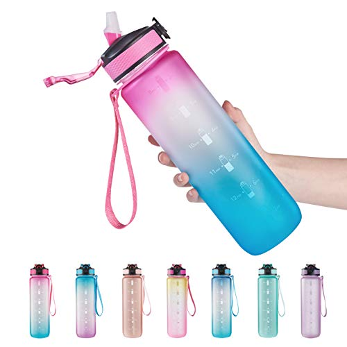 EYQ 32 oz Water Bottle with Time Marker, Carry Strap, Leak-Proof Tritan BPA-Free, Ensure You Drink Enough Water for Fitness, Gym, Camping, Outdoor Sports (Fuschia/Green Gradient)