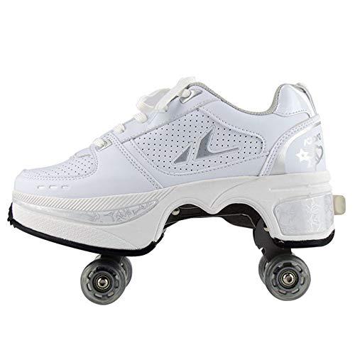WEDSGTV Rollschuh Roller Skates Kinder Verstellbar 2in1 Mehrzweckschuhe Schuhe Mit Rollen Skateboardschuhe,Inline-Skate,Verstellbare Quad-Rollschuh,White-EU42/UK7