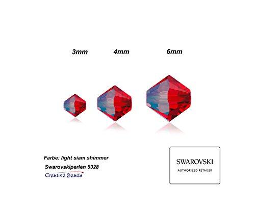 Creative Charm Perline Swarovski, 3mm, conica, doppio cono, 5328, 25stueck, di alta qualità collana collane e bracciali e orecchini fai da te, Vetro, Siam Shimmer