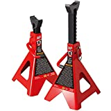 BIG RED T46002A Torin Steel Jack Stands: Double Locking, 6 Ton (12,000 lb) Capacity, Red, 1 Pair