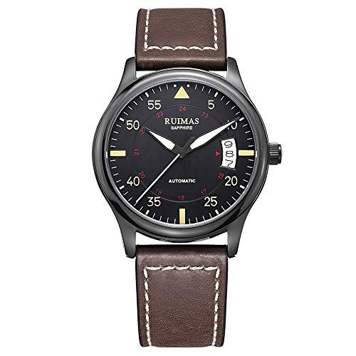 Ruimas marca giapponese NH36 A uomini orologio meccanico automatico con cinturino in pelle vetro zaffiro cristallo luminoso orologio da polso …