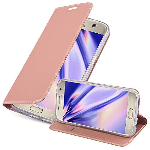 Cadorabo Funda Libro para Samsung Galaxy S7 en Classy Oro Rosa - Cubierta Proteccíon con Cierre Magnético, Tarjetero y Función de Suporte - Etui Case Cover Carcasa