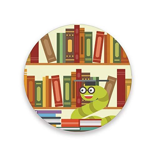 FANTAZIO Bookworm Bücherregal Tasse Untersetzer Untersetzer für Wein Glas Tee Untersetzer mit verschiedenen Mustern passend für Arten von Tassen und Tassen, Holz, 1, 1 piece set