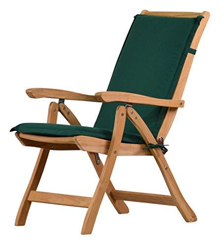 Grüne Hochlehner Auflage Kanaria | ✓ Stuhl-Polster aus 100% strapazierfähigem Polyester ✓ 6 cm dickes bequemes Stuhlkissen ✓ Polster-Auflage als Sitzpolster & als Auflage für Klappstuhl ✓ Pflegeleicht