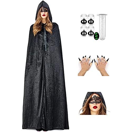 Capa con capucha, capa de diablo, disfraz de bruja de Halloween para hombres y mujeres con capucha, uñas falsas, máscara de encaje, conjuntos completos de disfraces de Halloween, disfraces de cosplay