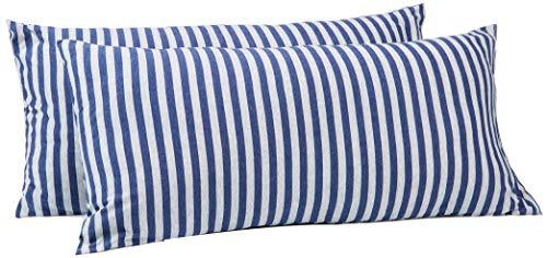 AmazonBasics - Kissenbezüge, Jersey, 2er-Pack, gestreift, 40 x 80 cm, Marineblau