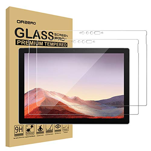 (2 Pack) Orzero Compatible for Surface Pro 7 (12.3 inch) Tempered Glass Screen Protector, 9 Hardness HD Anti-Scratch Full-Coverage (2.5D Arc Edges) (Lifetime Replacement)