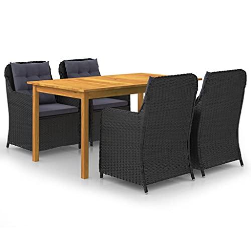 vidaXL Gartenmöbel Set 5-TLG. Sitzgruppe Sitzgarnitur Gartengarnitur Gartenset Tisch Stühle Gartensessel Sessel Gartentisch Schwarz