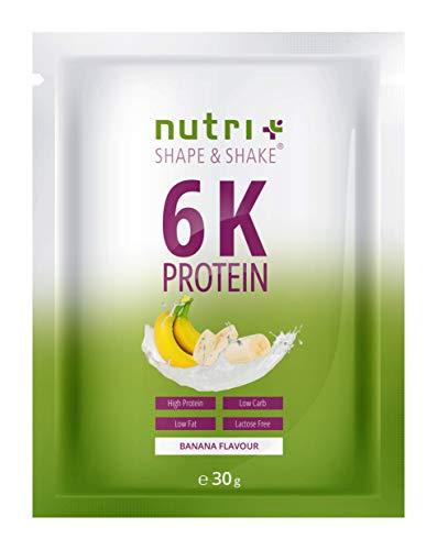 PROTEINPULVER Proben BANANE - 82,8% Eiweiß - Shape & Shake Probierpackung - eine Probe Portion pflanzliches Protein ohne Aspartam - 6-Komponenten Eiweißpulver - Vegan