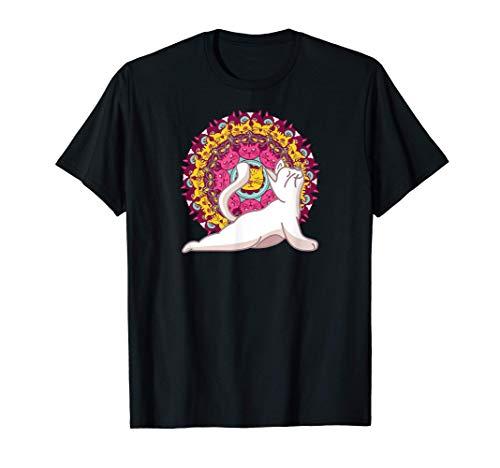 Meditación de los chakras del yoga Mandala Cat Pilates Gato Camiseta