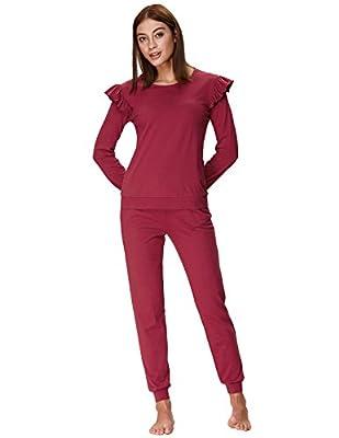Zexxxy Women's Long Sleeve Pajamas Set with Pants Cotton Loungewear ZE0107