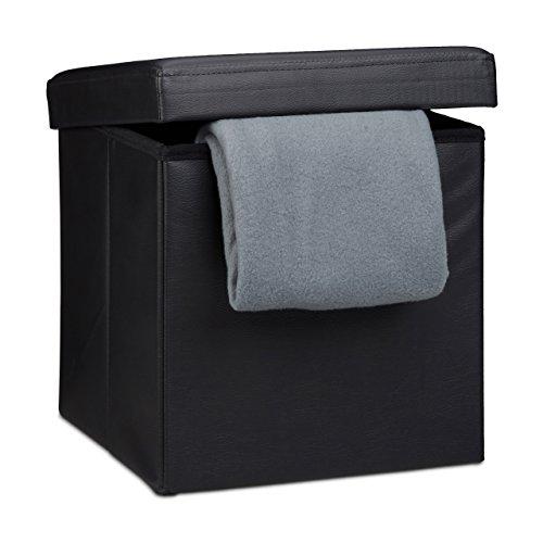 Relaxdays Faltbarer Sitzhocker, Sitzcube mit Stauraum u. Deckel, Fußablage, Sitzwürfel aus Kunstleder, 38x38 cm, schwarz