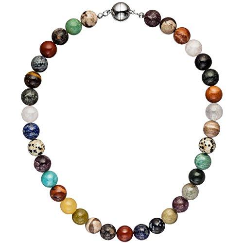 JOBO Halskette Kette mit Edelsteinen multcolor bunt 45 cm Steinkette Edelsteinkette