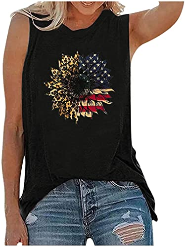 Womens Tank Tops 4th of July American Flag Printed Vest Casual Sleeveless Tank Top Cute tee Summer Shirts