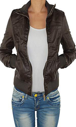 Damen Lederjacke Kunstlederjacke Leder Jacke Damenjacke Jacket Bikerjacke Blouson in vielen Farben S - 4XL Schoko 2XL