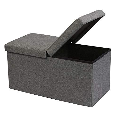 B FSOBEIIALEO Storage Ottoman with Filpping Lids Ottoman Storage Bench Footrest Seat Storage Organizer Toy Chest Linen 30quotx15quotx15quot Grey