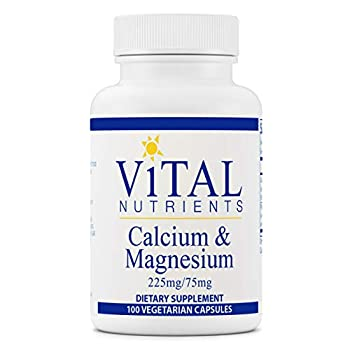 Vital Nutrients - Calcium and Magnesium - Cardiovascular Muscle and Bone Support - 100 Vegetarian Capsules per Bottle - 225 mg / 75 mg