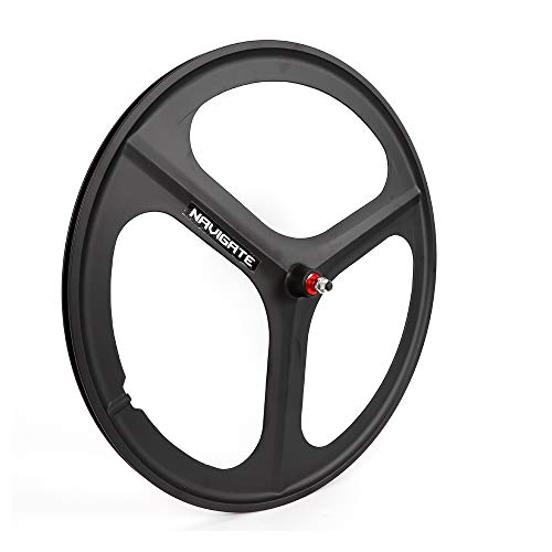 TFCFL 700c Fixed Gear Wheels, Bike Fixed Wheel Set, Rims 3 Spoke Front & Rear Mag Wheels Fixed Bike Single Speed Fit Fixed Gear(A Variety of Models are Available) (Front Wheel Black)