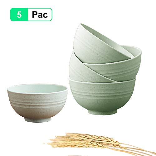 Umweltfreundliche Müslischale, Salatschüssel Bowl Schüssel Groß 5er Set, mit Camping Schale Obstschalen Suppenschüsseln, Leicht, Bruchsicher, Spülmaschinen- Mikrowellentauglich, BPA Free (Green)