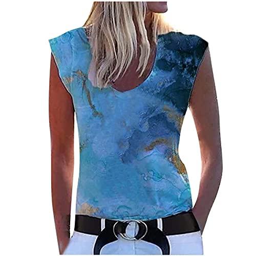 Camiseta interior para mujer, camiseta de verano, sin mangas, camiseta sin mangas, camiseta de tirantes para mujer, túnica, para adolescentes y niñas azul XXXL
