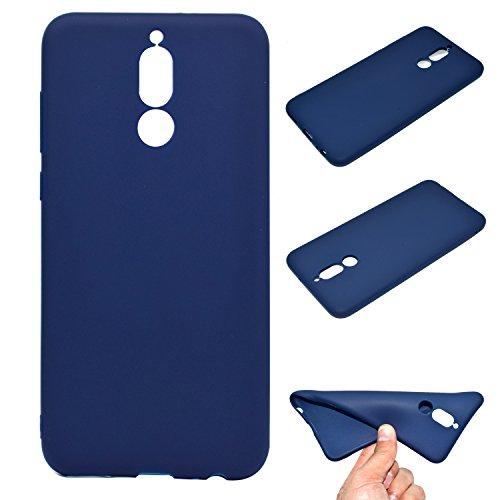 LeviDo Coque Compatible pour Huawei Mate 10 Lite Étui Silicone Souple Bumper Antichoc TPU Gel Ultra Fine Mince Caoutchouc Bonbons Couleurs Design Etui Cover, Bleu Foncé