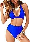 CheChury Bikini Mujer Push up Impresión Traje de baño Conjuntos Cintura Alta Bañador Mujer de Talle Alto Vintage Bikini Set para Mujer (Azul-1, XL)