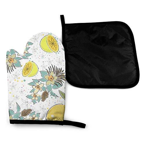 Wfispiy Ofen Mitt Nettes nahtloses Muster mit Zitronen und Blumen Hitzebeständige Ofenhandschuhe + Tischset-Topflappen, Ofenhandschuhe Mikrowellen-Backhandschuhe