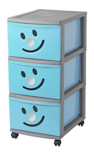 Sundis HAPPYTOWER 3 GM Bleu Argent Torre Diseño Infantil con 3 Cajón es con Cara Sonriente Y Ruedas Pivotantes, Azul, Talla Única