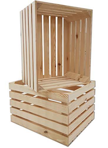 Odolplusz Weinkiste Holzkisten Obstkisten Apfelkisten 50 x 40 x 30 cm, Naturholz, 1 Stück