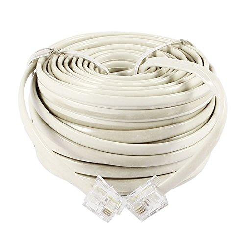 uxcell 電話ケーブル モジュラーケーブル 電話線 コネクタ 長さ15m  RJ11 6P4C オス-オス