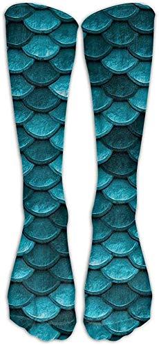 Marine Blue Teal Mermaid Fish Scales Athletic Tube Women's Men's Classics High Socks Sport Long Sock One Size