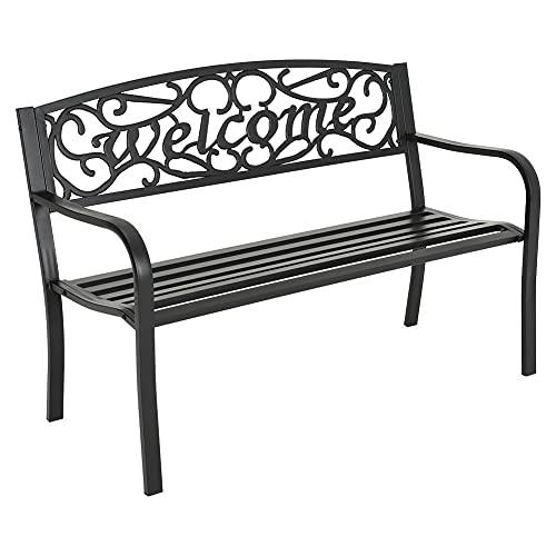 FUKEA Garden Bench Park Bench 3 Seater Outdoor Garden Furniture Seating Cast Iron Outdoor Bench Ideal for Garden Terrace Balcony Patio 127L x 52W x 81H cm (Model 5)