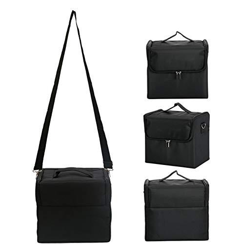 HUATINGRHBO Make Up Beauty Cosmetics - Étui de Transport/Organisateur de vanité avec Plateaux rabattables - Poignée et bandoulière - Compartiments en Filet (Taille: 29 * 21 * 26 cm), Black