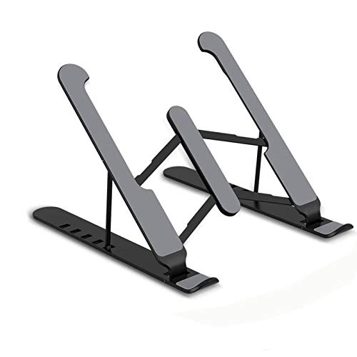 Ventilated Laptop Computer Stand,Compatible with 10'' to 16'' Adjustable laptop stand,Portable Foldable Laptop Tablet Stand with 6 Angles Height adjustments,Non-slip Laptop Stand(Black)