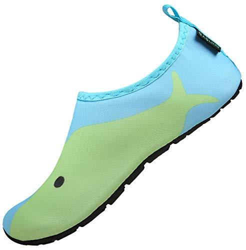 SAGUARO Niños Niñas Zapatos de Agua Calcetines Zapatillas de Deporte Descalzos Aire Libre Snorkel Deportes Acuáticos Escarpines Piscina Playa Yoga Secado Rápido,Ice Azul 24/25 EU