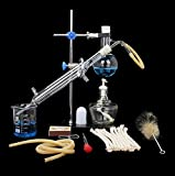 Wghz Home Distillation Alcohol Essential Oil Distiller Apparatus 100ml Chemical Experiment Equipment Lab Glassware Kit 10pcs Set to Making Your Own Essential Oil Moonshine
