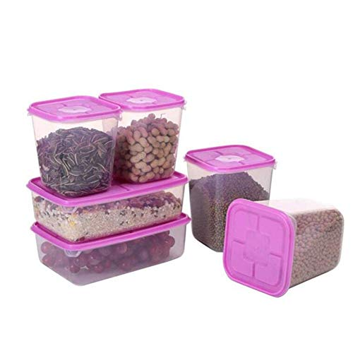 6 pcs/Set Kitchen Airtight Food Storage Containers,Cereal Containers Dispenser,Plastic Snacks Sugar Storage Bins Organizer,Pantry Space Saving Canisters Jars,Nuts Rice Food Storage Box Seal