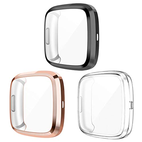 Wepro Screen Protector Case Compatible with Fitbit Versa 2 Smartwatch, 3-Pack Soft TPU Plated Bumper Full Cover Cases for Fitbit Versa Watch, Clear/Black/Rosegold, Shock Proof Fit Shell Replacement