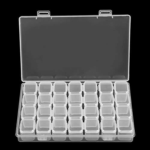 MALAT 28 Slots Clear Plastic Rhinstone Beads Holder Storage Box for Nail Art Manicure Tools Jewelry Display Case Organizer